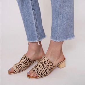 Dolce Vita Kaira Leopard Calf Hair Slide Sandals